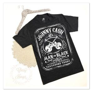 Johnny Cash Man In Black Graphic T-Shirt Size S